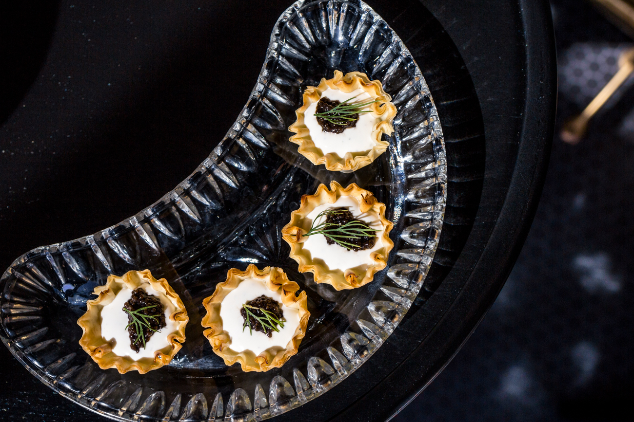 Caviar in Puff Pastry: pastry cups filled with lemon and dill creme fraiche, topped with bowfin caviar / Image: Catherine Viox // Published: 6.28.19