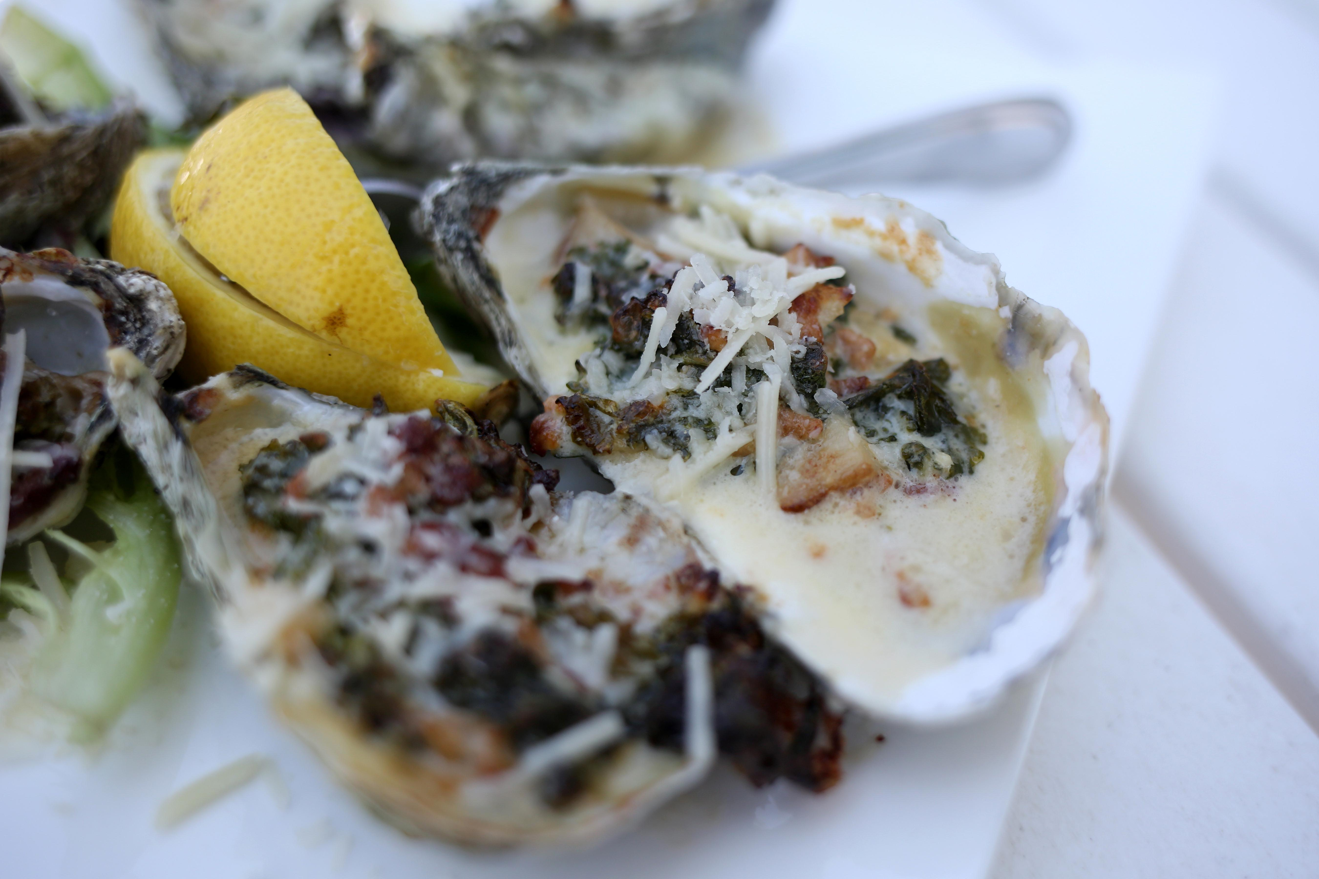 Oysters Rockefeller at The Oyster Farm (Amanda Andrade-Rhoades/DC Refined)