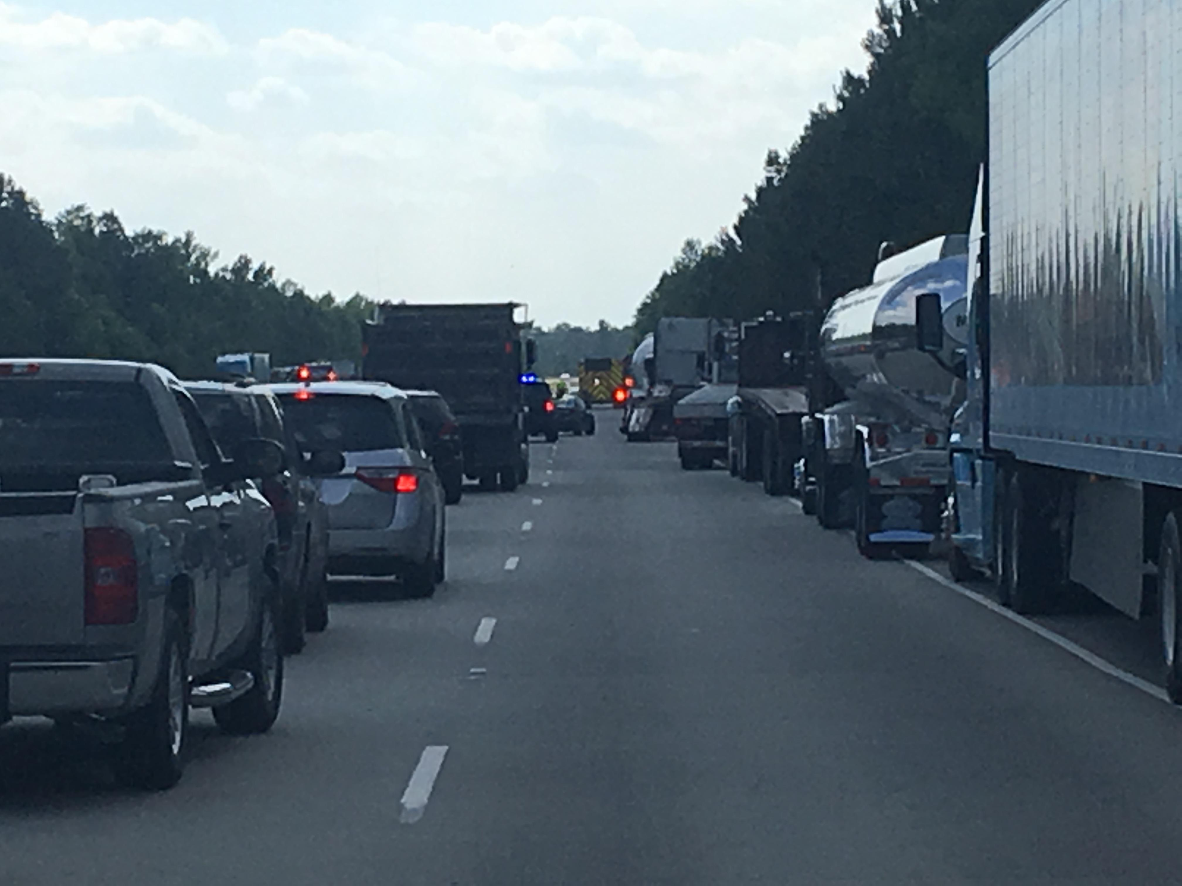 A wreck with injuries has multiple lanes of Highway 22 closed and traffic backed up for miles, according to South Carolina Highway Patrol. (WPDE)