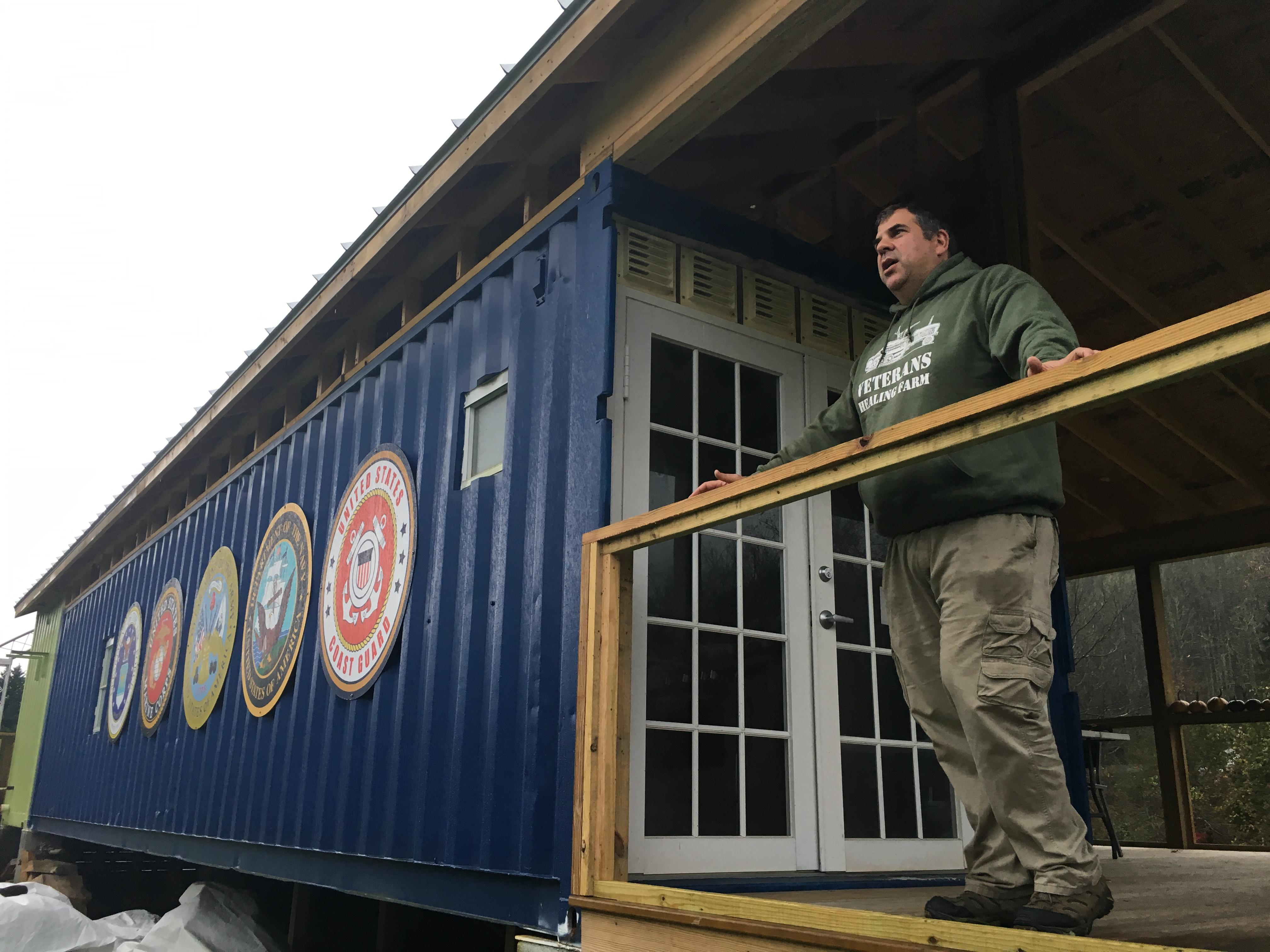 "Four years ago, John Mahshie started a project that could eventually be a model across the country. ""I just had this vision of opening a space,"" he said of Veterans Healing Farm. (Photo credit: WLOS staff)"
