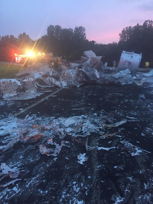 Molten aluminum spills from a truck in Mt. Pleasant, Tennessee. (Courtesy city officials)