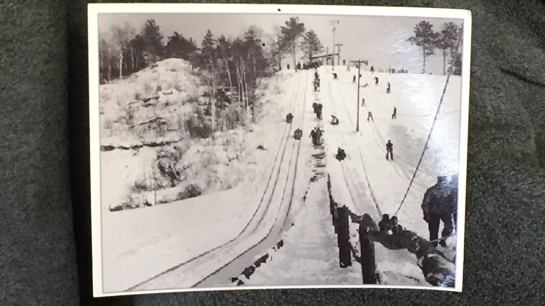 Historical Wisconsin Conservation Dept. photo of skiers at Potawatomi State Park in the Town of Nasewaupee. (WLUK/Eric Peterson)