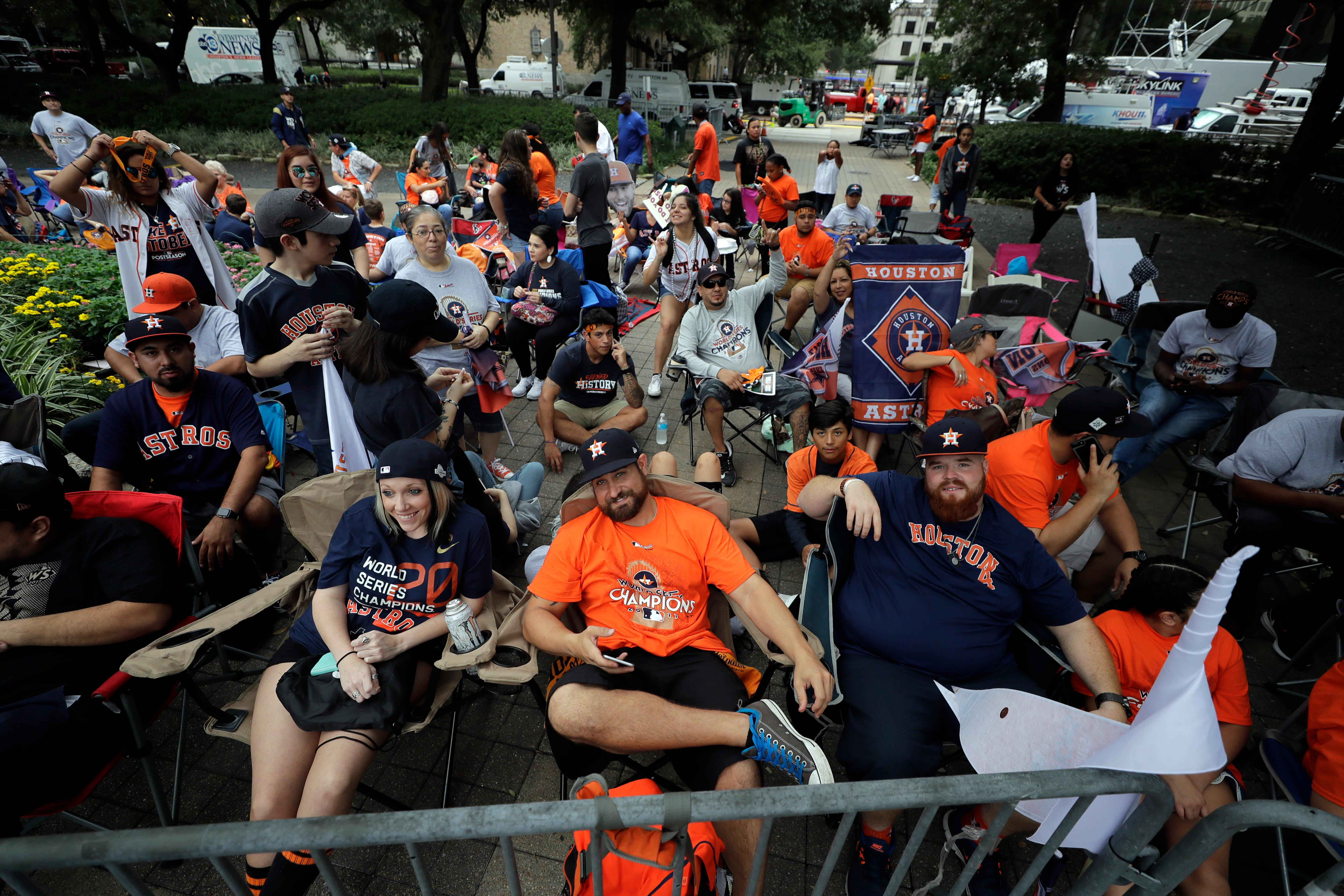 Houston Astros fans gather before a parade honoring the World Series baseball champions, Friday, Nov. 3, 2017, in Houston. (AP Photo/David J. Phillip)