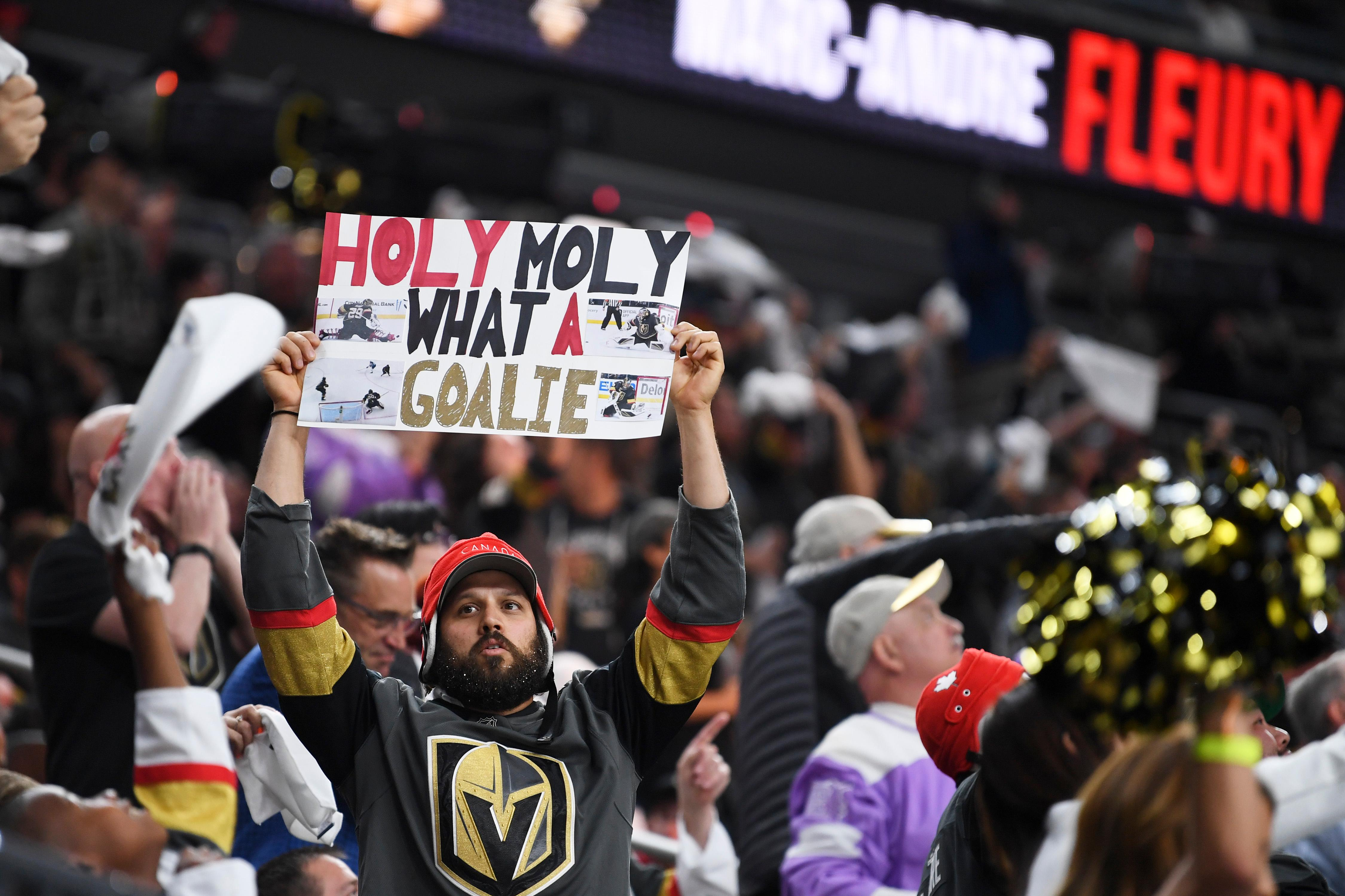 A Vegas Golden Knights fan holds up a poster after Golden Knights goaltender Marc-Andre Fleury made another stop during Game 4 of their NHL hockey Western Conference Final game against the Winnipeg Jets Friday, May 18, 2018, at T-Mobile Arena. CREDIT: Sam Morris/Las Vegas News Bureau