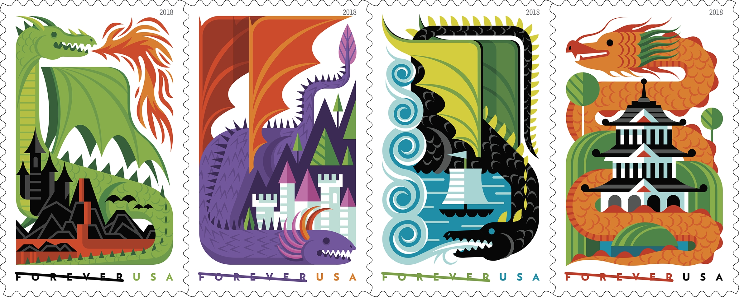 Dragons: The Postal Service celebrates dragons, the high-flying, fire-breathing mythological creatures that have roamed our imaginations for millennia. (USPS)