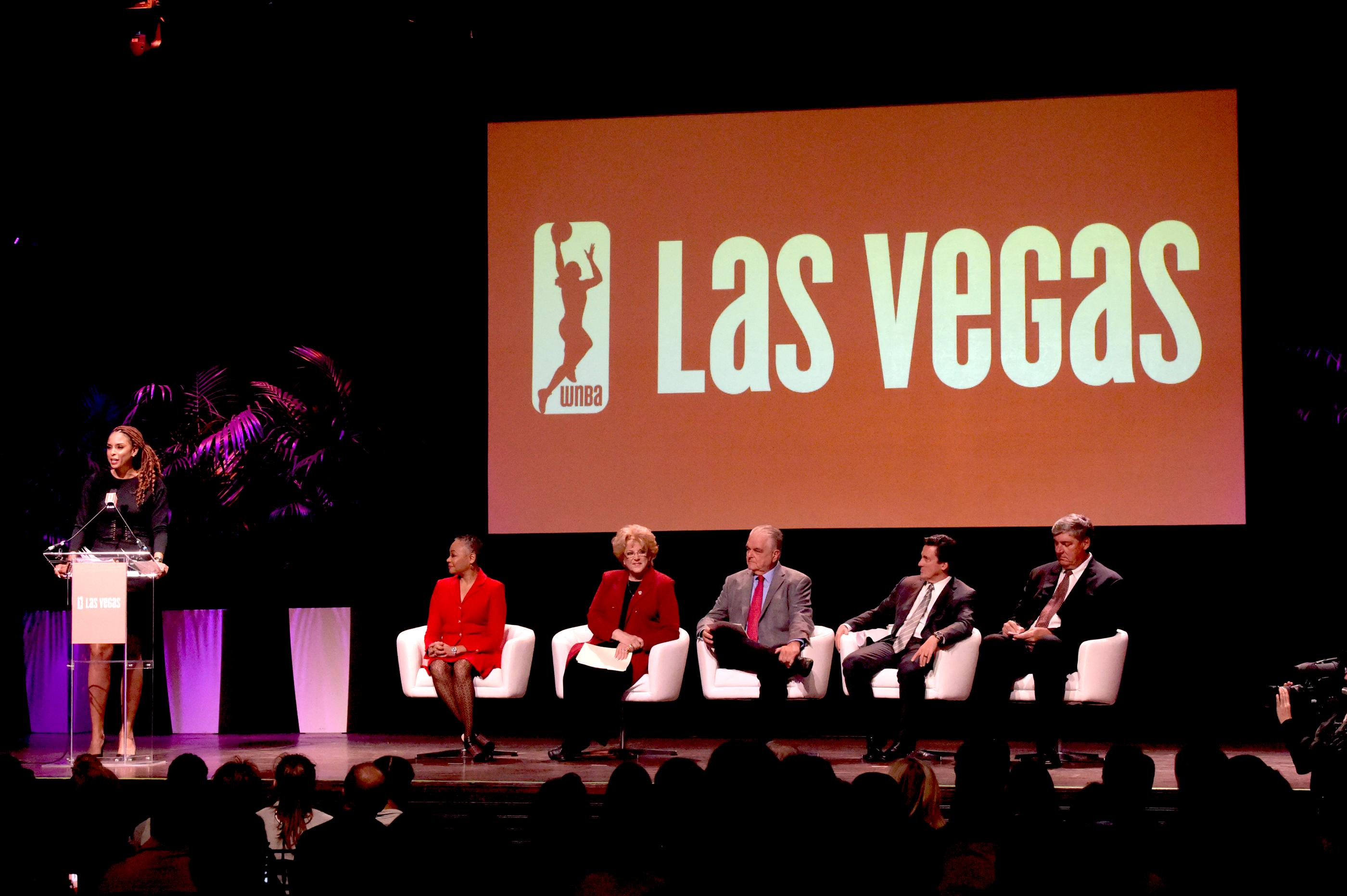 LaChina Robinson event host introduces the speakers  at the press conference announcing the WNBA Las Vegas Aces as the newest professional sports franchise in Las Vegas at Mandalay Bay. Pictured: (l-r) LaChina Robinson, Lisa Borders, Carolyn G. Goodman, Steve Sisolak, Bill Hornbuckle and Bill Laimbeer. Monday, December 11, 2017. CREDIT: Glenn Pinkerton/Las Vegas News BureauBureauBureau