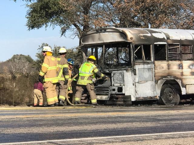 Photos by Scott Martin/KTXS News: A TDCJ bus transporting inmates caught fire on Hwy 36 between Abilene and Cross Plains.<br><p></p>