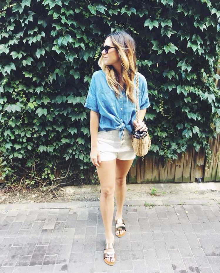 Strutting summer denim trends in Bloomingdale. (Image via @tinaheileman)