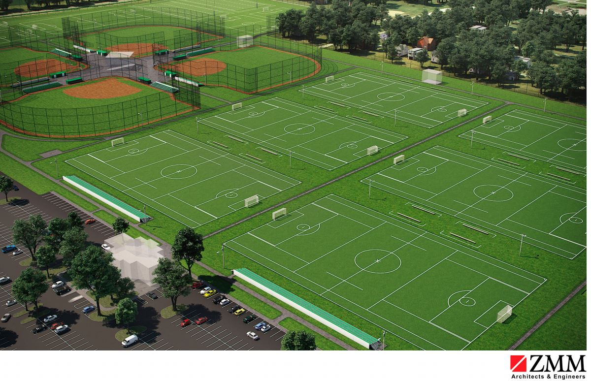 A Charleston architecture firm has released renderings of what they have envisioned for the new Shawnee Park sports complex. (ZMM Architect and Engineers)