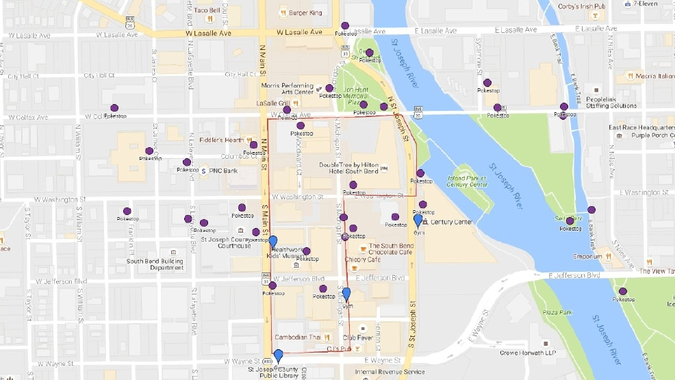 Pokemon Go Guide WSBT - South bend map