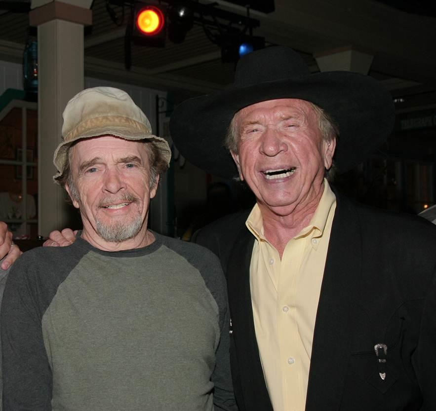 Merle Haggard is seen with fellow Bakersfield music legend Buck Owens in a photo provided Wednesday, April 6, 2016, by Buck Owens Production Co. Haggard died Wednesday at the age of 79.