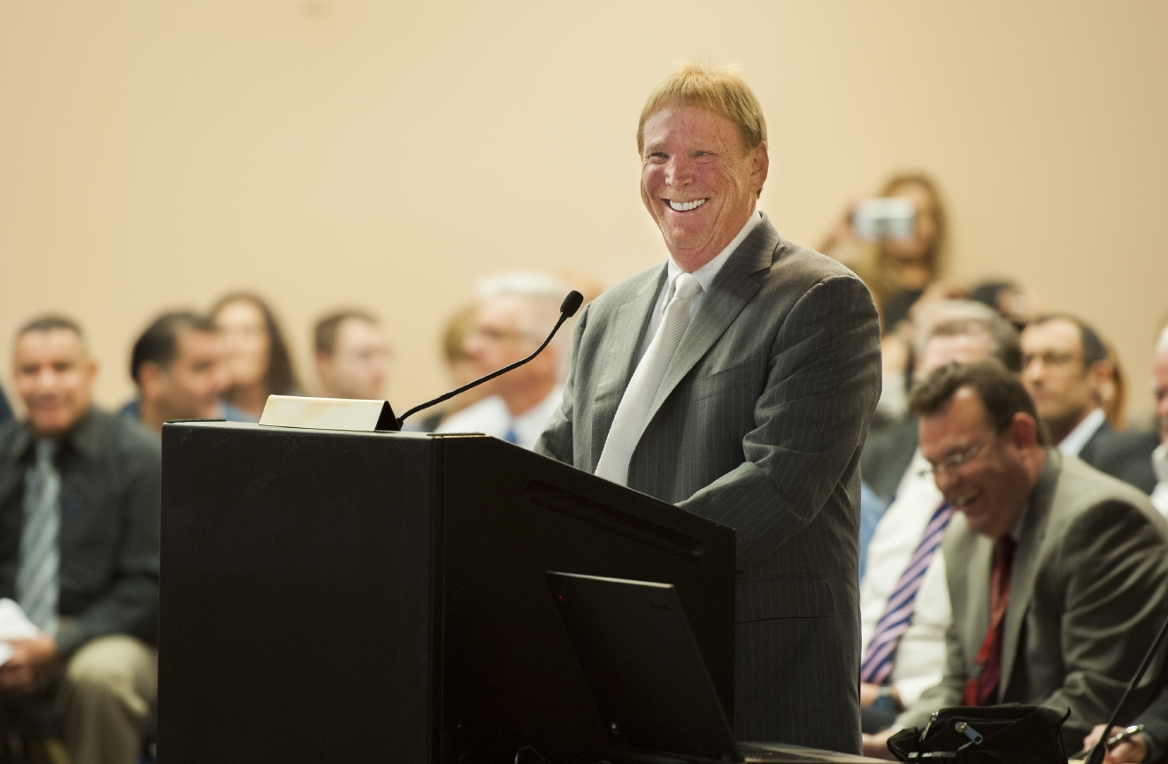 Mark Davis, owner of the Oakland Raiders, speaks at a meeting of the Southern Nevada Tourism Infrastructure Committee at the Stan Fulton Building, UNLV on Thursday, April 28, 2016. Davis discussed bringing the Oakland Raiders to Las Vegas, which includes the initiative to build the Raiders a domed stadium. (Mark Damon/Las Vegas News Bureau)