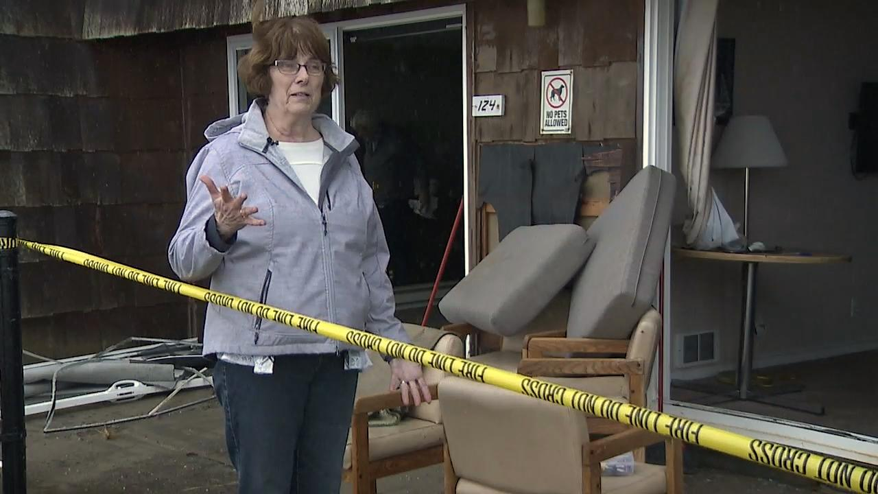 A massive wave crashed through the sliding glass door of Lynn Bott's condo Thursday in Lincoln City. The wave threw her across the room. (KATU Photo)
