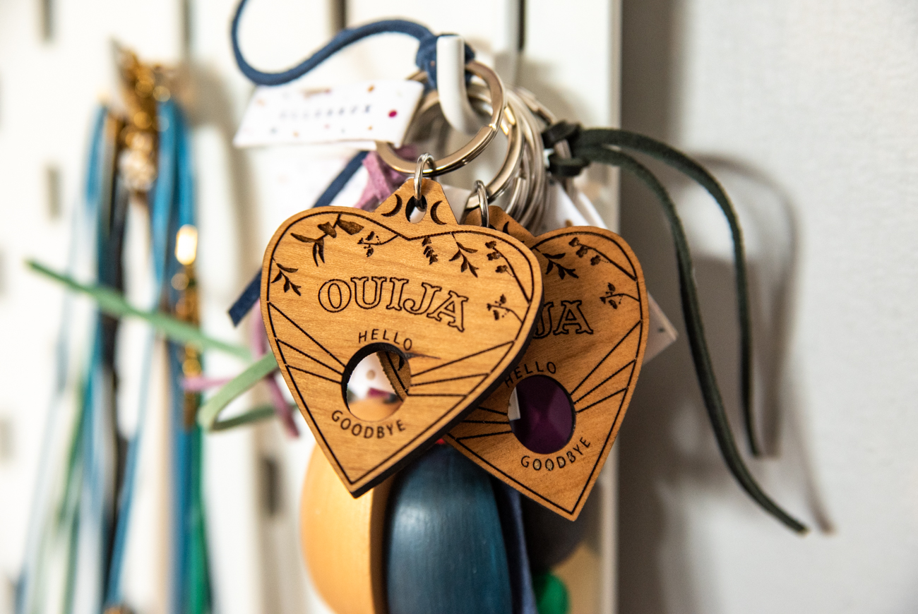 Laser-cut Ouija keychains / Image: Melissa Sliney // Published: 3.26.20  <br><p></p>