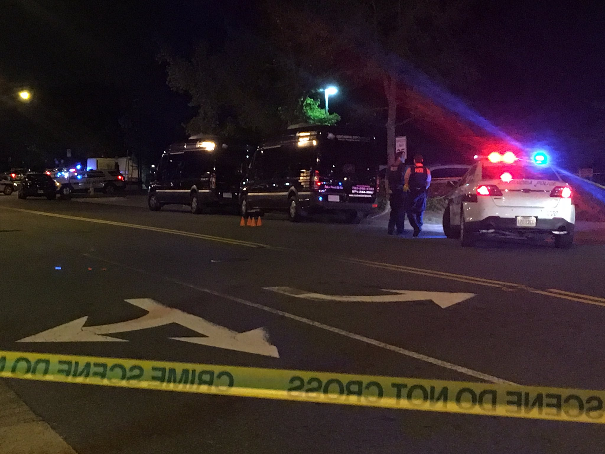 Police are on the scene of a shooting that left two dead and another person seriously injured in Alexandria, Va.{ } Sunday, Oct. 22, 2017 (Q McCray, ABC7){ }