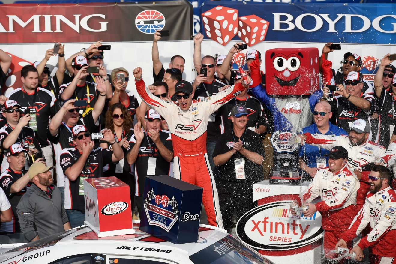 Joey Logano celebrates winning the NASCAR Xfinity Series Boyd Gaming 300 Saturday, March 11, 2017, at the Las Vegas Motor Speedway. (Sam Morris/Las Vegas News Bureau)