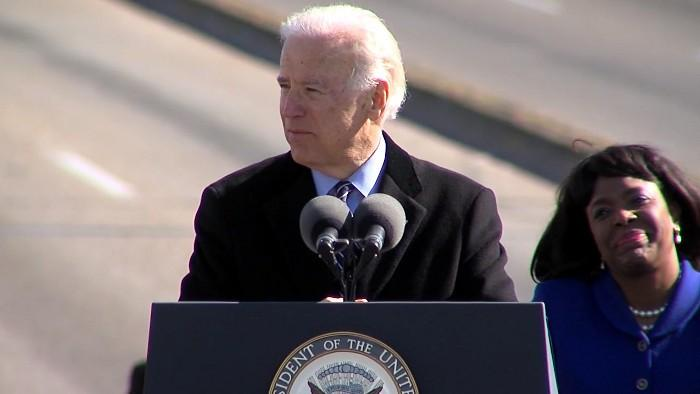 Vice President of the United States Joe Biden speaking at the Edmund Pettus Bridge crossing event in Selma on Sunday, March 3, 2013.