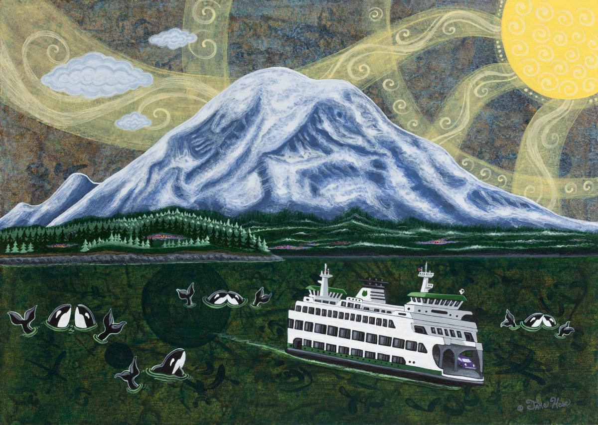 Ferry Under Mount Rainier. (Image: Jake Hose)