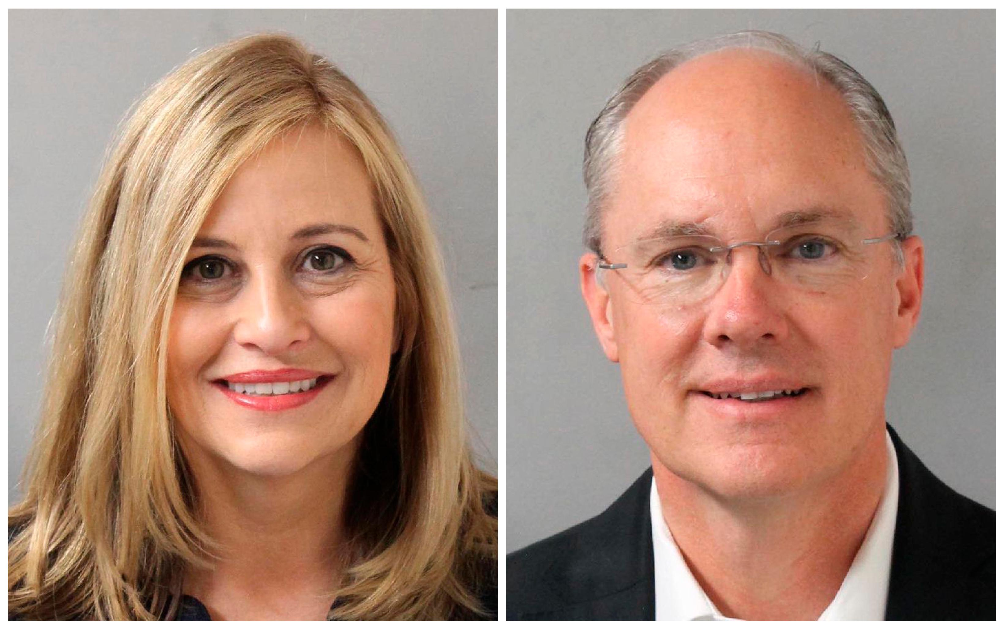 This combination of photos provided by the Metropolitan Nashville Police Department shows Nashville Mayor Megan Barry, left, and her former bodyguard, retired police Sgt. Robert Forrest. Barry resigned Tuesday, March 6, 2018, after pleading guilty to cheating the city out of thousands of dollars as she carried on an affair with Forrest. (Metropolitan Nashville Police Department via AP)
