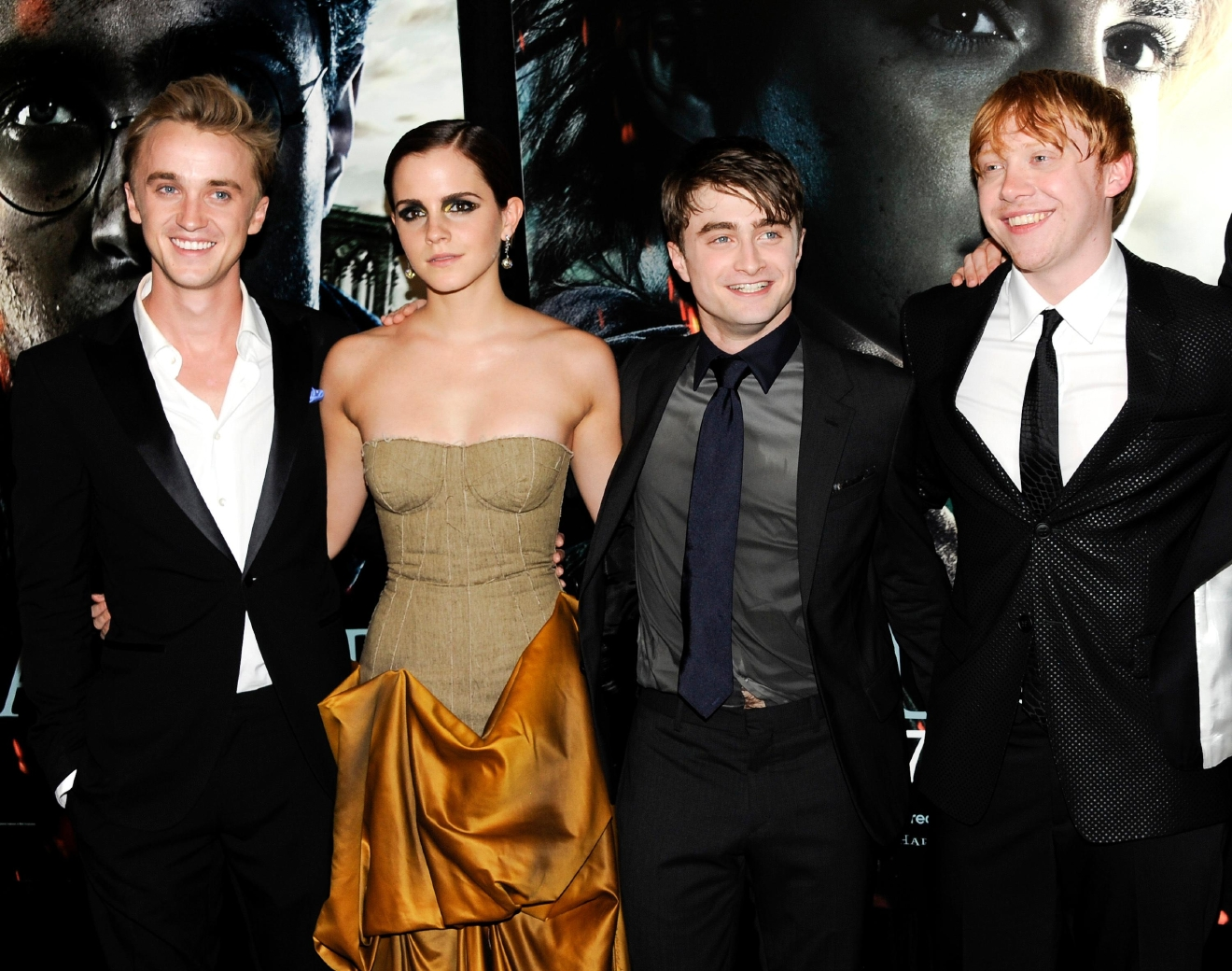 "FILE - In this July 11, 2011 file photo, cast members, from left, Tom Felton, Emma Watson, Daniel Radcliffe and Rupert Grint pose together at the premiere of ""Harry Potter and the Deathly Hallows: Part 2"" at Avery Fisher Hall in New York. (AP Photo/Evan Agostini, File)"