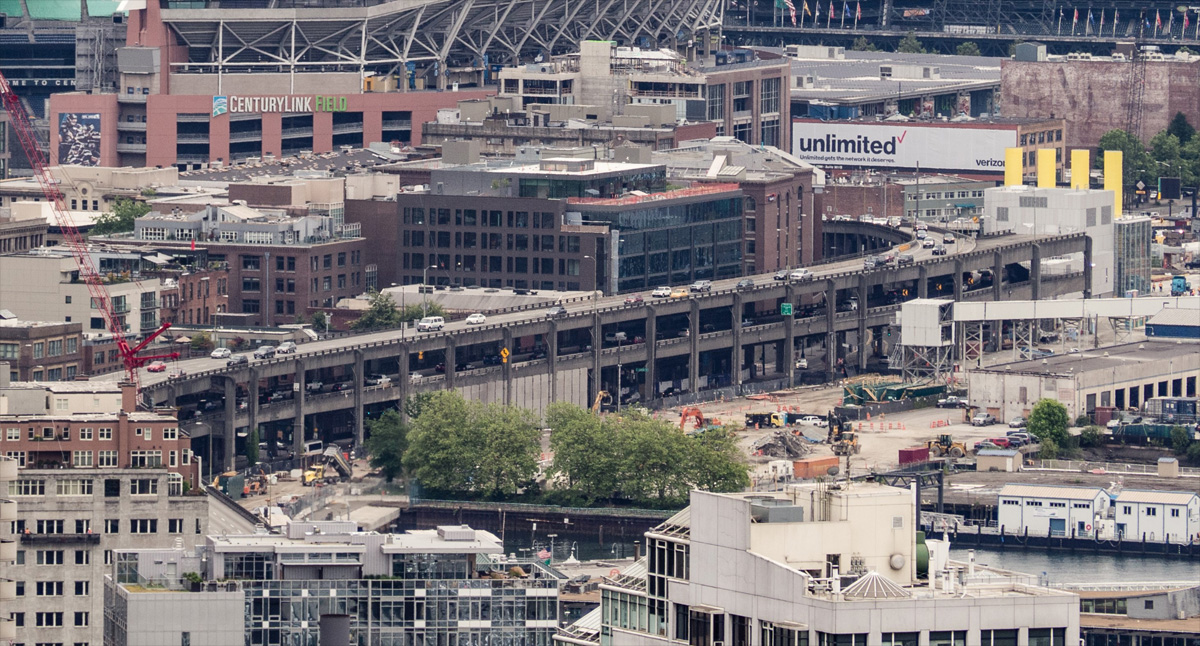 WSDOT photo shows the existing Alaskan Way Viaduct.