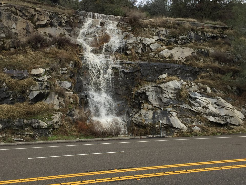 Weekend storm created a new waterfall along Highway 168 by Gail Rogers 1-9-17