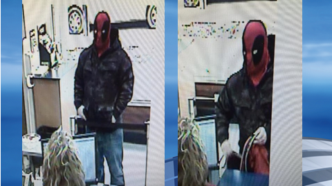 The South Point Police Department said an arrest warrant was issued for a bank robbery suspect who was wearing a superhero mask. (South Point Police Department)