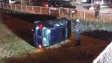 Flipped car abandoned in West Warwick