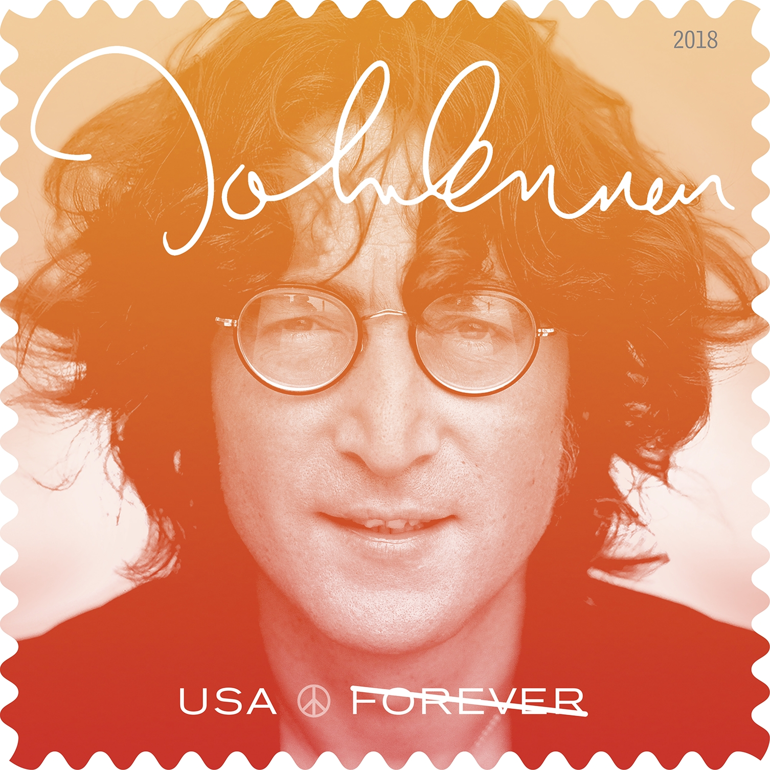 John Lennon (Music Icons series): The newest stamp in the Music Icons series honors singer and songwriter John Lennon (1940–1980), a rock 'n' roll hero successful both as a founding member of the Beatles and as a solo artist. (USPS)