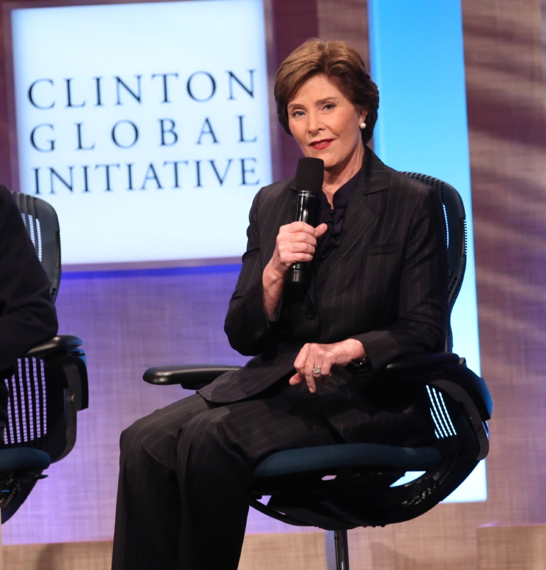 Former First Lady Laura Bush speaks at a Clinton Global Initiative event held at the Sheraton Hotel in New York on Sept. 22, 2010. (WENN)