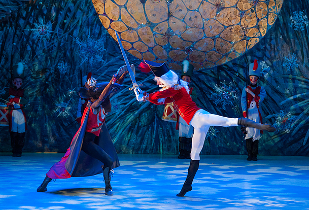 Staged with traditional Russian choreography and paired with exotic Arabian dancers, the International Ballet Theatre presents a version of the Nutcracker for the traditionalists. (Image: International Ballet Theater)<p></p>