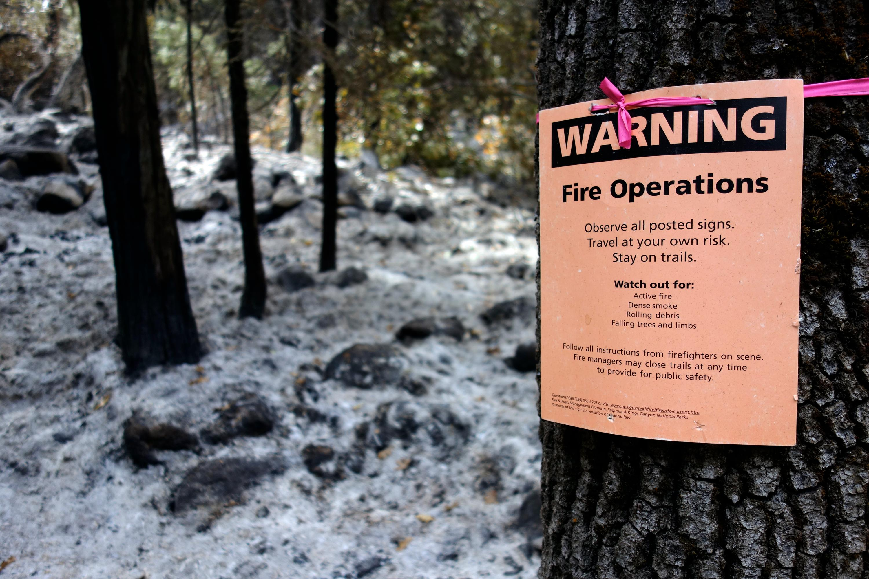 "This Oct. 30, 2017 photo shows a notice warning visitors of controlled-fire operations in Kings Canyon National Park, Calif.  California's seemingly endless cycle of wildfires is helping drive plans to do more ""controlled burns"" that thin forests choked with dead trees and withered underbrush that if left unchecked can feed monster blazes that force entire communities to flee, destroy homes and take lives. The goal for 2018 is to burn at least 20,000 acres and to clear another 20,000 by crews using chain saws, bulldozers and other machinery. (AP Photo/Brian Melley)"