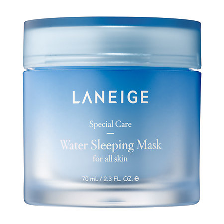 Laneige Water Sleeping Mask-- In the evening, cleanse and tone your face as you usually do. If you want to, apply any serum, essence or eye cream you typically use as well. Smooth a thin layer of the mask evenly on your face -- I apply about a dime-sized dollop, as you don't want it to be too thick or you might get it on your pillow or bed sheets. Leave it on overnight, and rinse off the next morning. (Image: Courtesy Laneige)