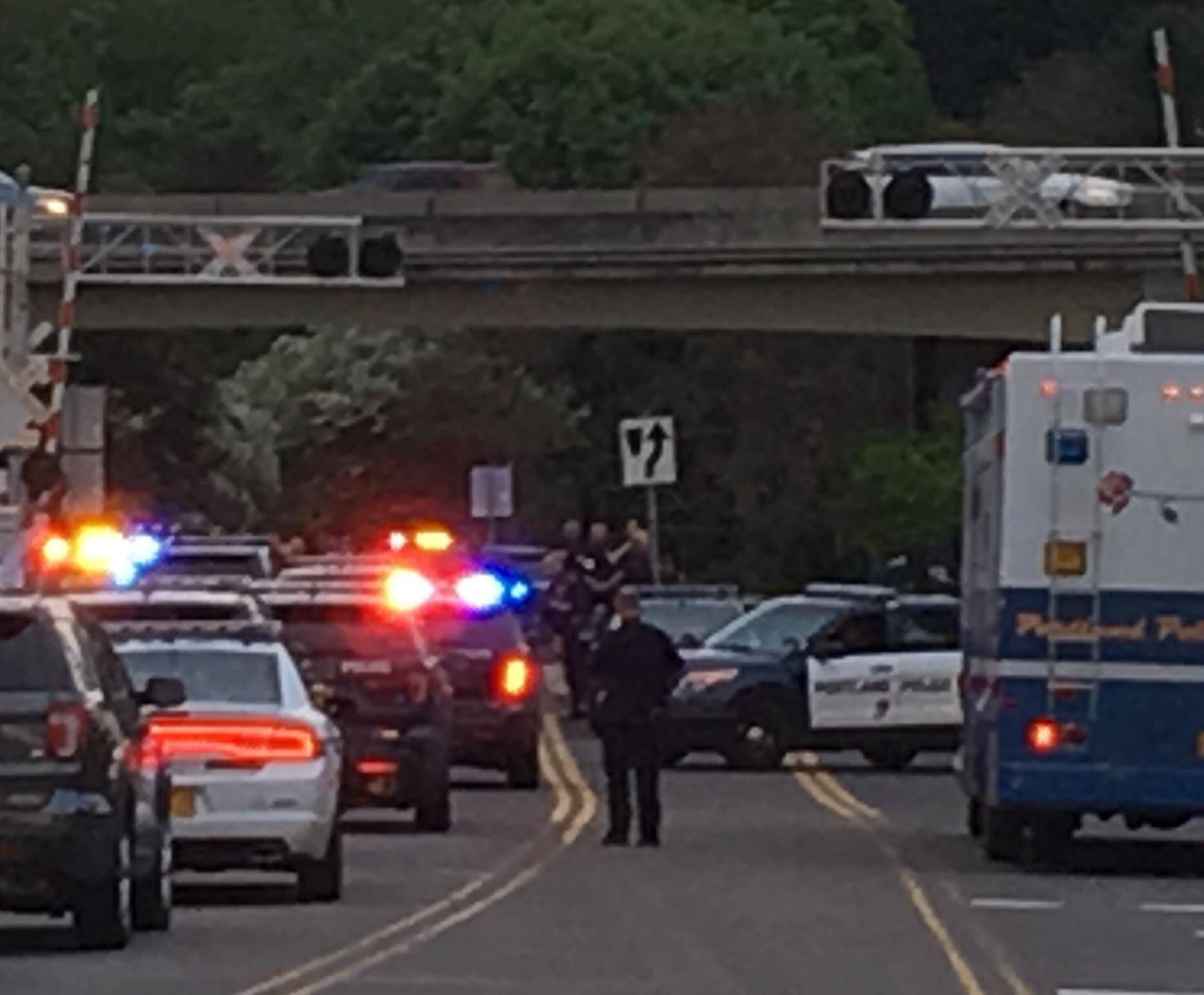 Police investigate an officer-involved shooting that left one person dead near the Interstate 205 overpass on Southeast Flavel Street on Wednesday night, May 10, 2017. (Photo: Monty Orrick/KATU News)