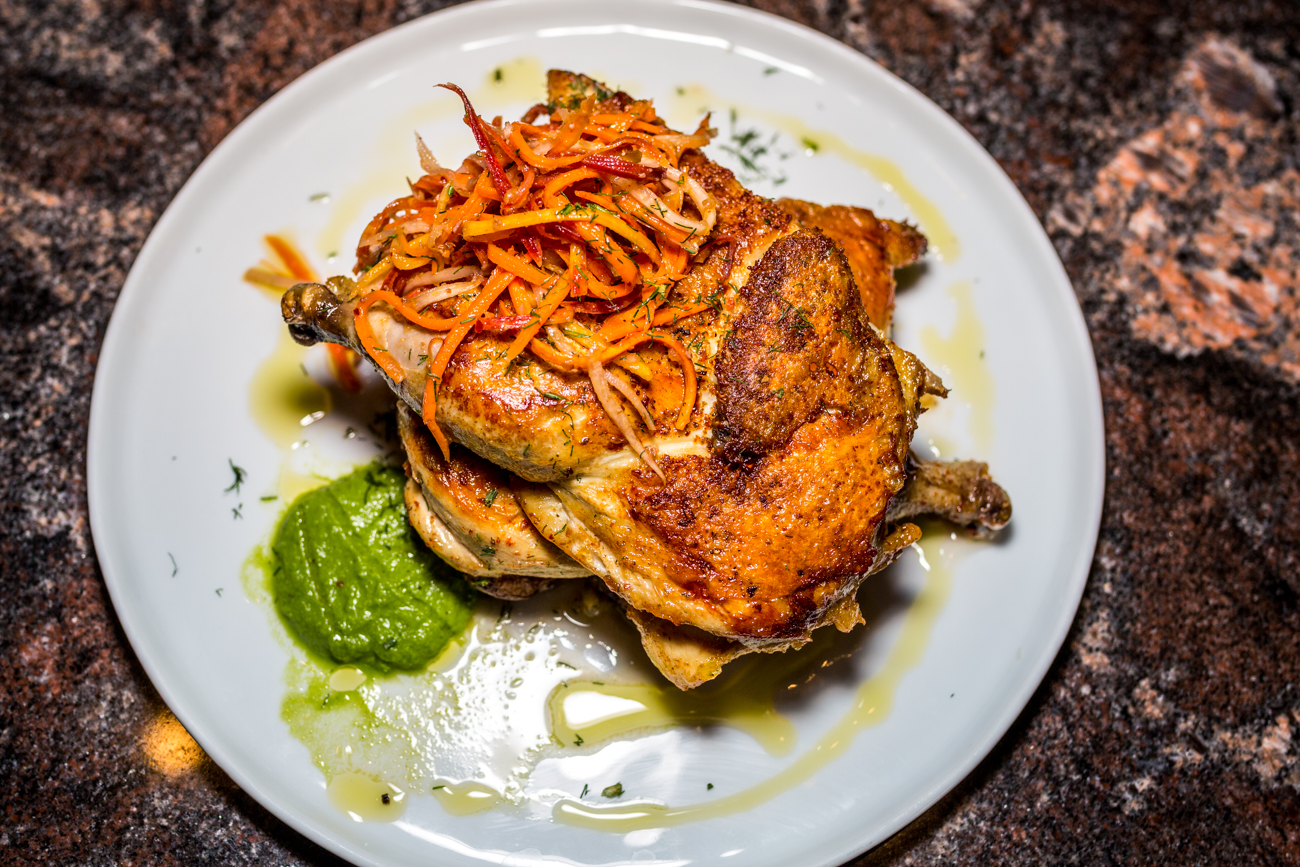 Brick Chicken (Tabaka): buckshot potatoes, marinated carrot, garlic cream, and dill / Image: Catherine Viox // Published: 9.5.19