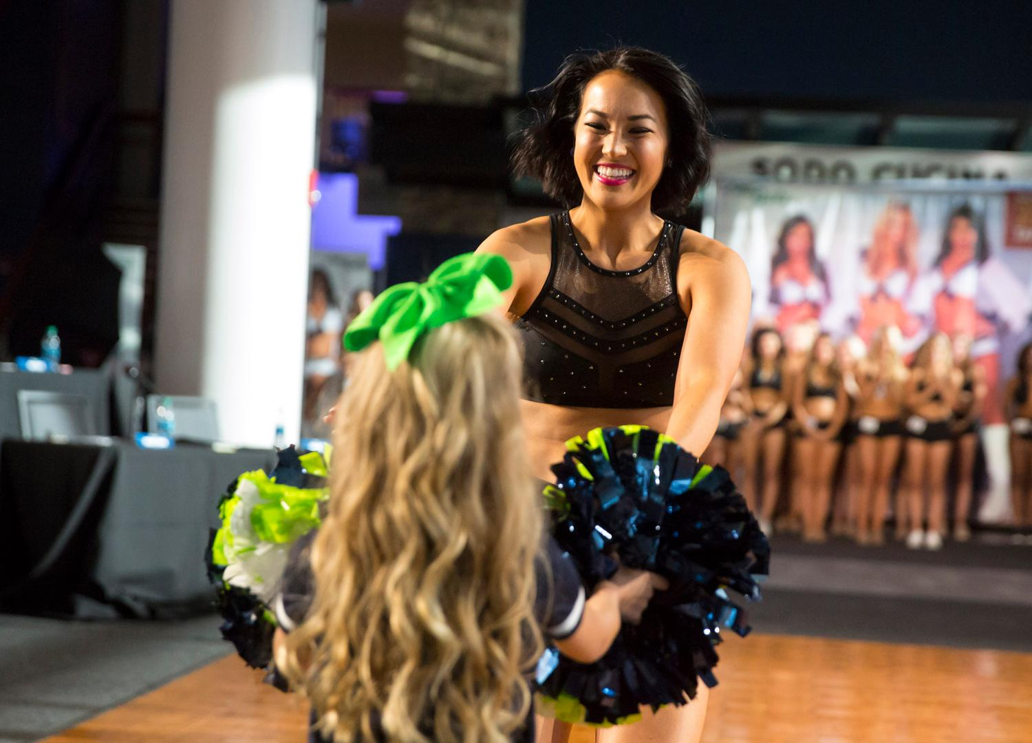 Welcome Kali, a 2018 Se Gal! Dancers performed a choreographed routine and spoke briefly about themselves. The entire evening was live broadcasted on the Seahawks website. (Sy Bean / Seattle Refined)