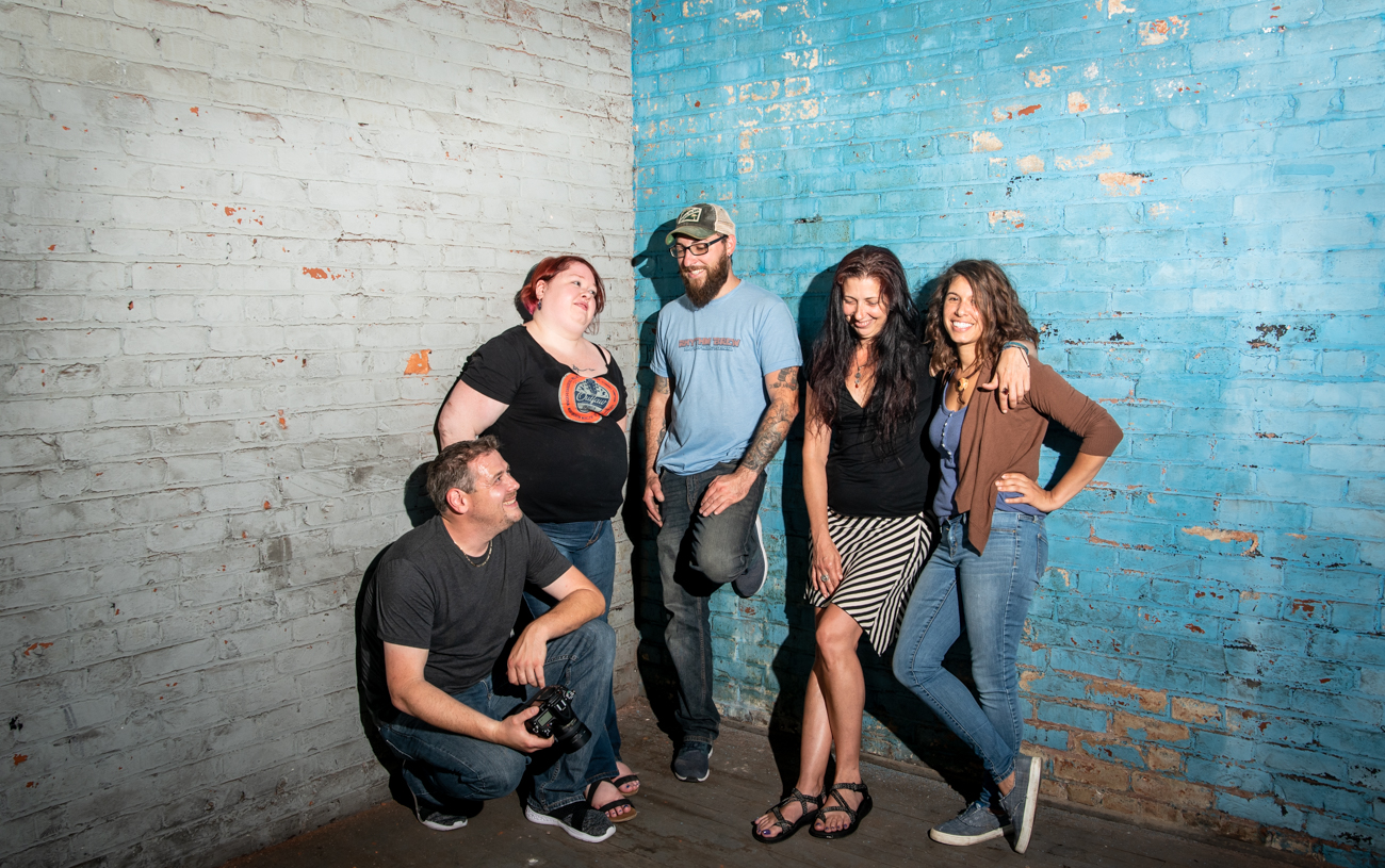 Ryan Hill, Sara Cole, Matt Meyung, Linnoir Rich, and Di Del Pilar Cendales are pictured in the abandoned Boys & Girls Club above the Artifact Gallery in Newport, KY. The members of this tight-knit group met after crossing paths around town at art fairs and markets, and as they bonded they also became inspired by one another, even collaborating from time to time. You can see their works in the pop-up gallery at Vine Street's Brick OTR on the weekend of June 28-29 from 11 AM-11 PM, and June 30th from 11 AM-6 PM. / Image: Melissa Sliney // Published: 6.26.19