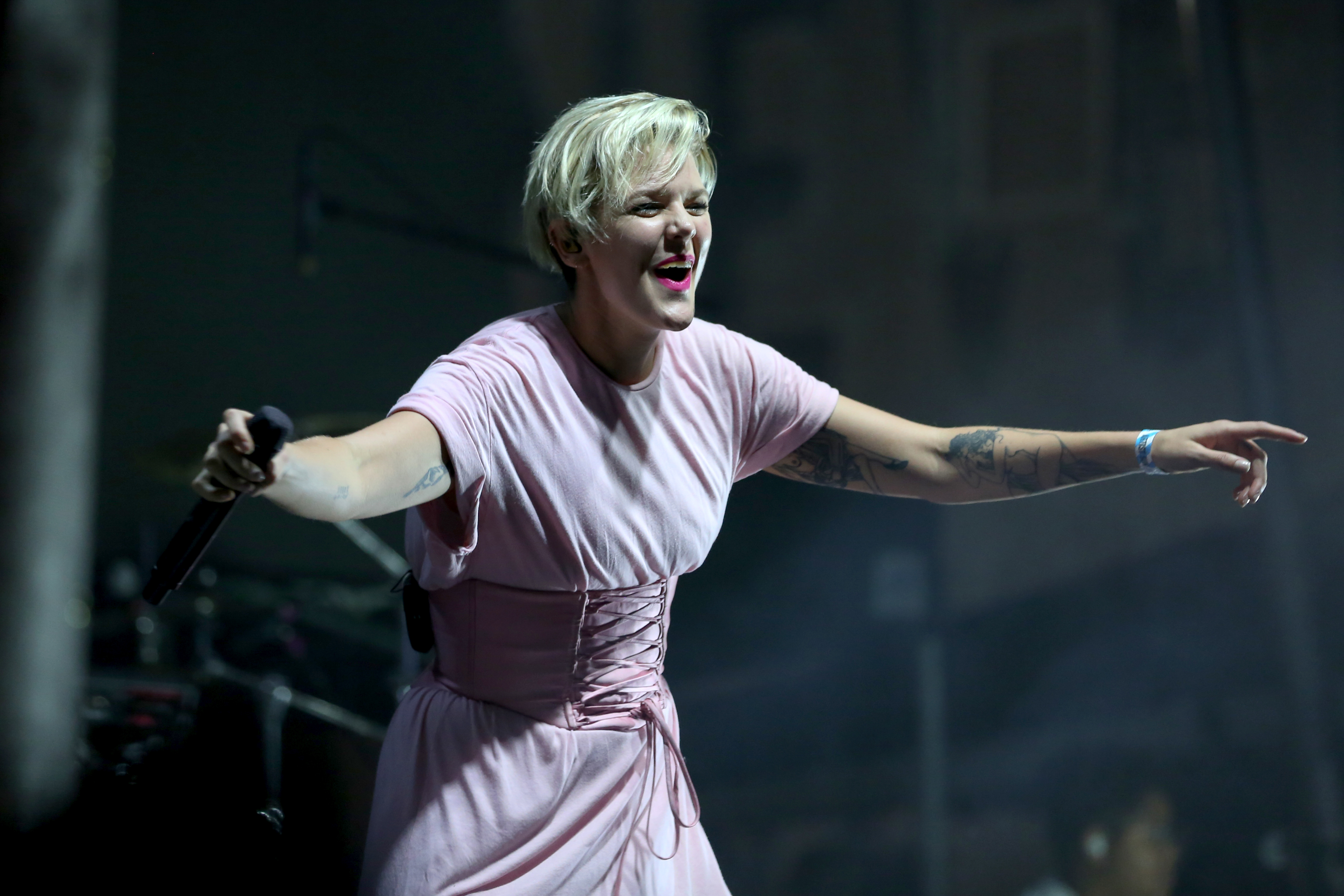 Betty Who's corset dress still managed to be casual and look great on stage at All Things Go. (Amanda Andrade-Rhoades/DC Refined)<p></p>