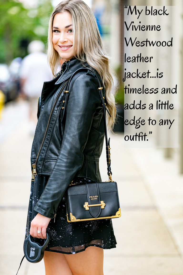 "CINCY REFINED: Everyone has that one item in their closet that they just can't part with. What's yours? / KATE SHAW: ""My black Vivienne Westwood leather jacket. It is timeless and adds a little edge to any outfit."" / Image: Amy Elisabeth Spasoff // Published:{ }7.31.18"