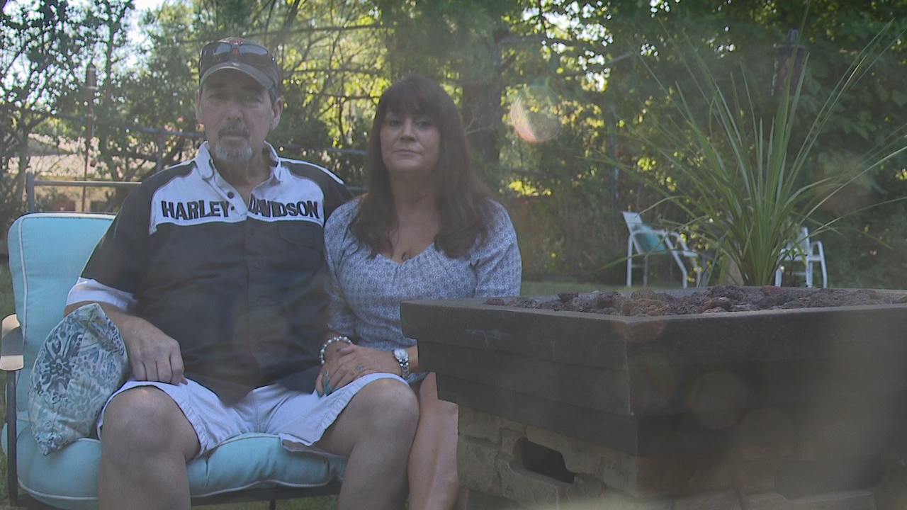 Scott and Annette Jackson say as Scott battles colon cancer, mowing the yard has become a source of stress - one that their neighbor has taken upon himself. (Image: WTVC)