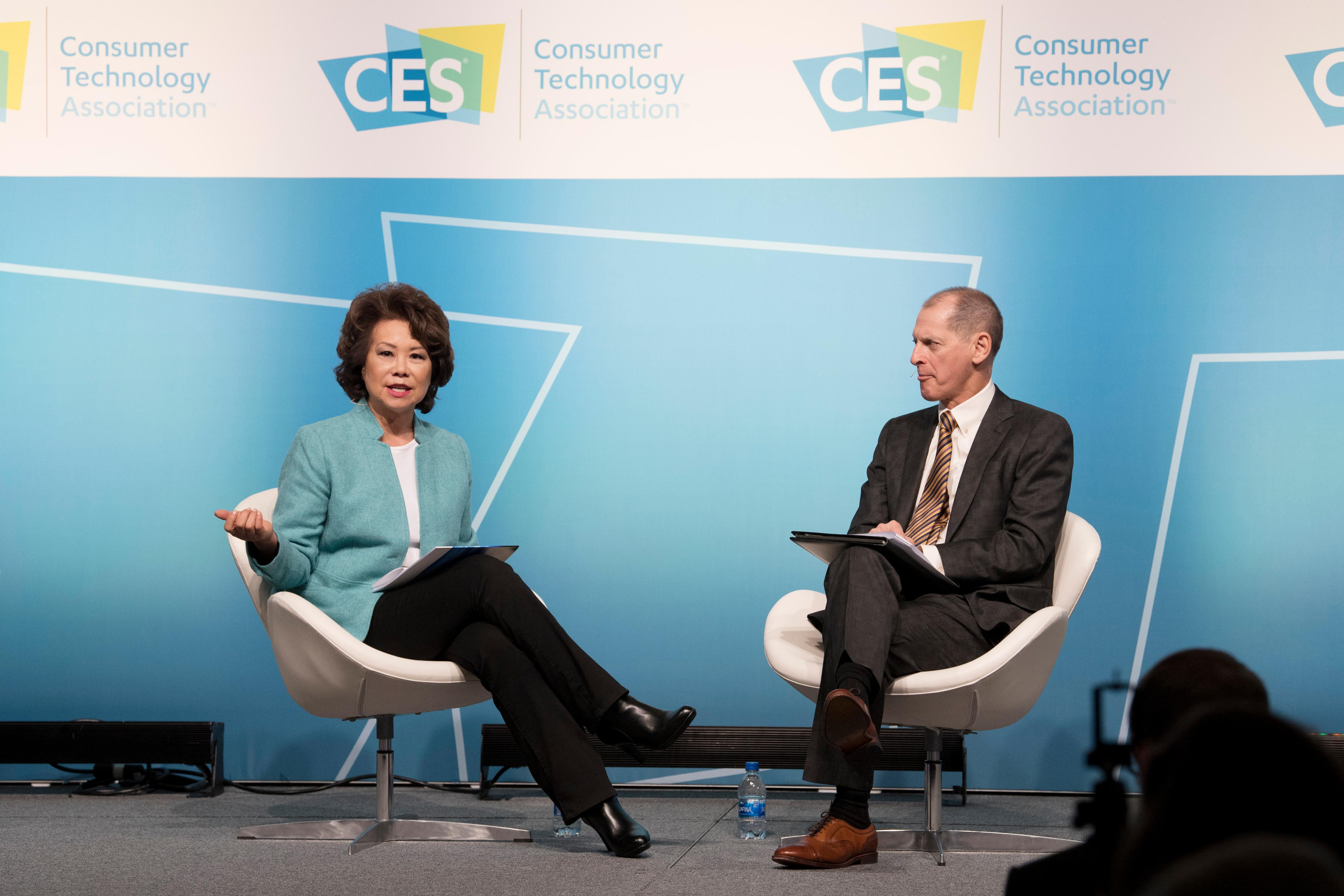 U.S. Secretary of Transportation Elaine Chao and Consumer Technology Association President and CEO Gary Shapiro have a conversation during the second day of CES Wednesday, January 10, 2018, at the Westgate. CREDIT: Sam Morris/Las Vegas News Bureau