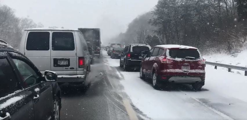 Traffic backs up on Interstate 64 after a four-vehicle crash between Milton and the Huntington Mall in which one person was killed. (WCHS/WVAH)<p></p>