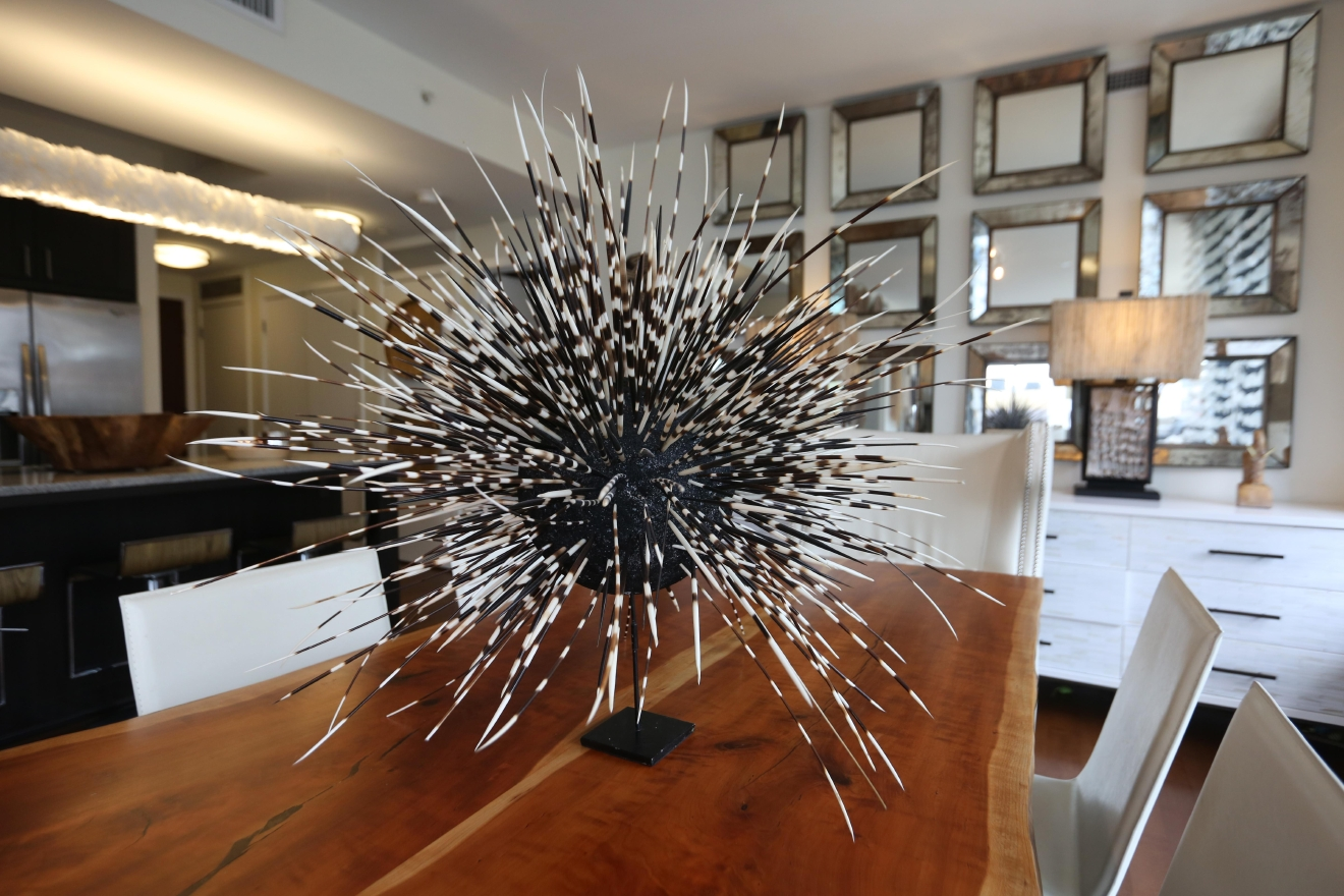Ashley acquired porcupine quills and created a centerpiece with them.  (Amanda Andrade-Rhoades/DC Refined)