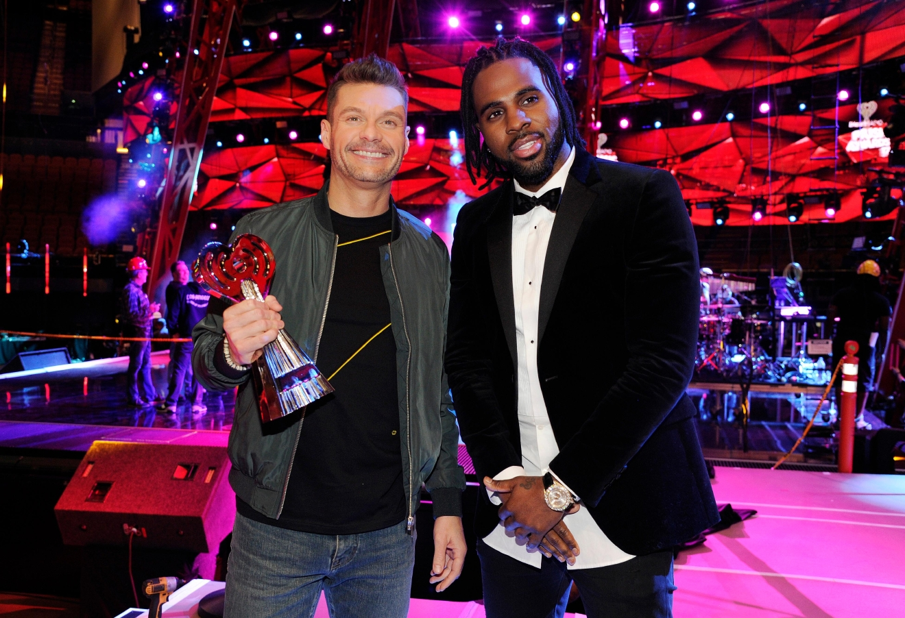 Host Ryan Seacrest, left, and singer Jason Derulo pose together at the press preview day for the 2017 iHeartRadio Music Awards at The Forum on Thursday, March 2, 2017, in Inglewood, Calif. The annual pop music awards show will be held on Sunday at The Forum. (Photo by Chris Pizzello/Invision/AP)