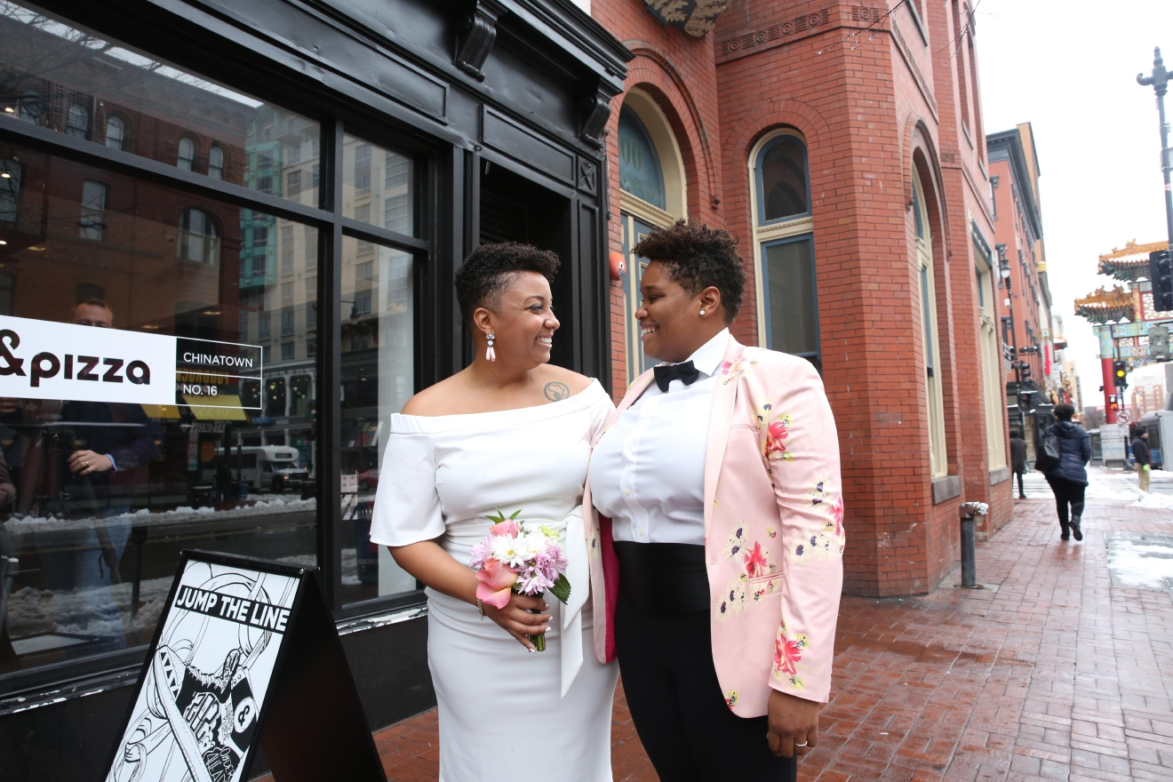The newlyweds' vows brought tears to their friends' eyes. They later celebrated by going to brunch. (Amanda Andrade-Rhoades/DC Refined)