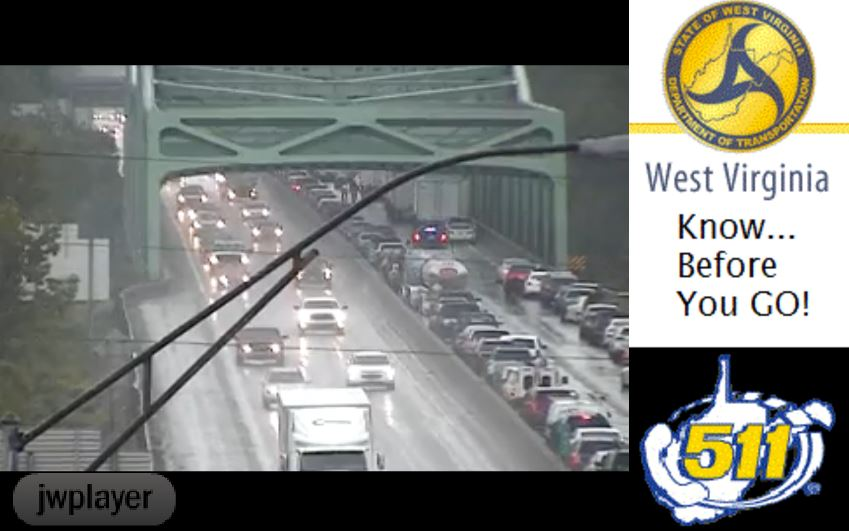511 photo shows traffic backed up on the Nitro-St. Albans Bridge. (511)