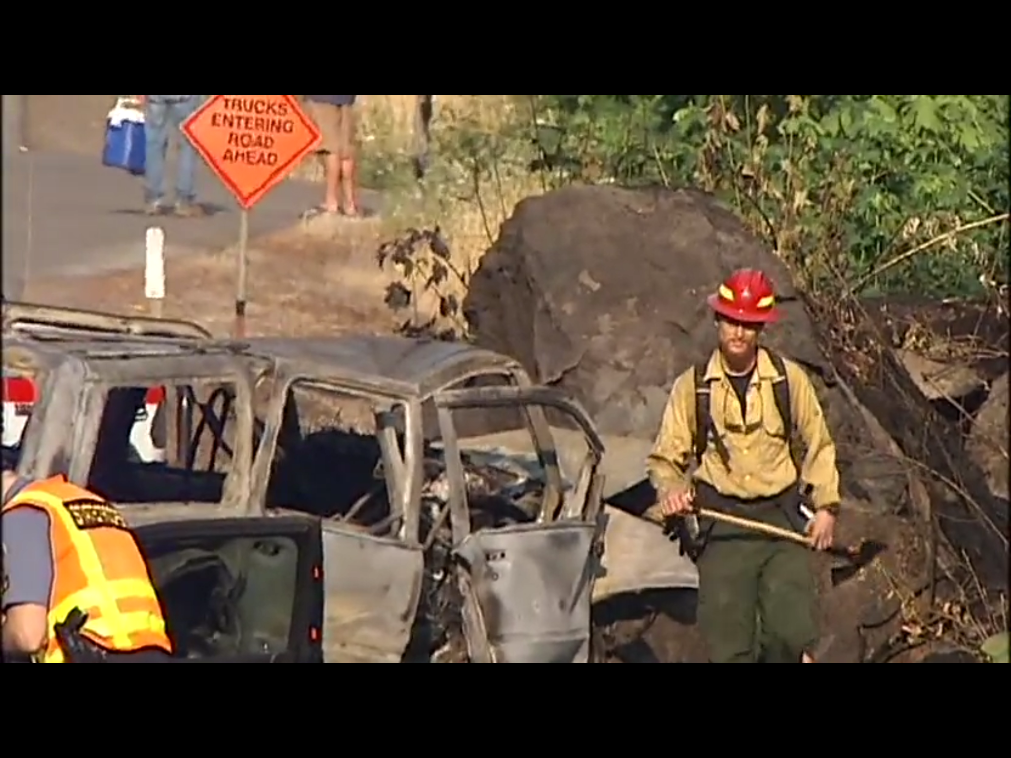 An SUV that went off the highway and hit a boulder was engulfed in flames by the time firefighters arrived on scene Wednesday, Oregon State Police said.  The driver of the 2001 Ford Explorer died in the crash and fire. (SBG)