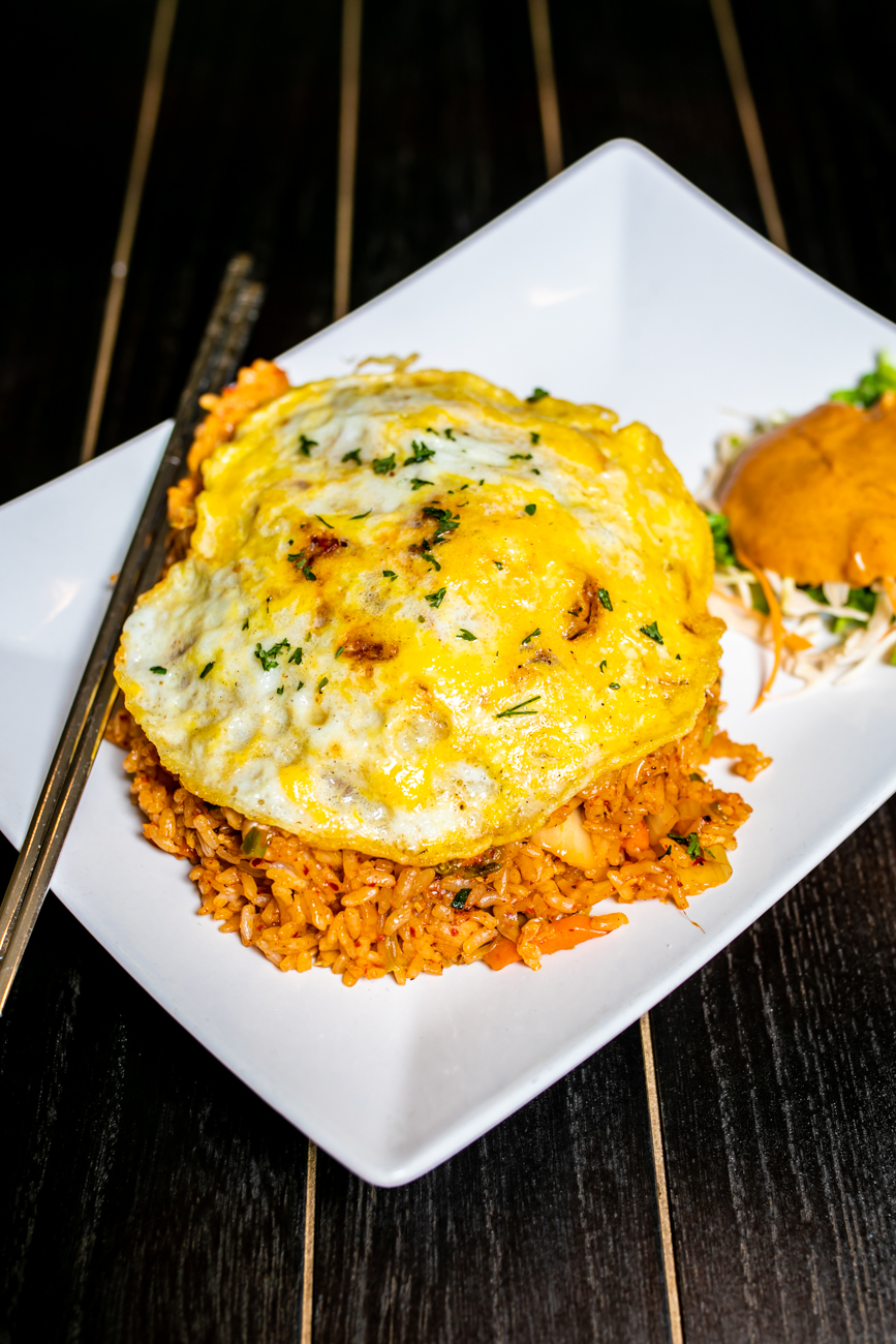 Kimchi Fried Rice: Kimchi fried rice with fried egg on top and your choice of meat (beef, chicken) tofu, or shrimp/ Image: Amy Elisabeth Spasoff // Published: 8.31.18