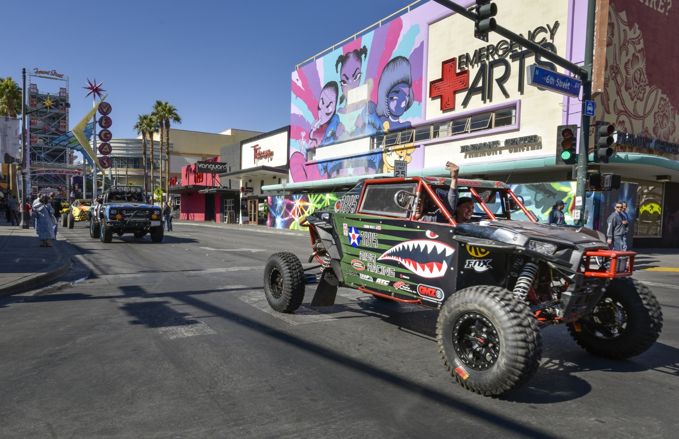 The Mint 400 4 Wheel Parts Vehicle Procession powered by Odyssey Battery enters downtown Las Vegas along Fremont Street East to kick off the Mint 400 off-road race weekend on Wednesday, Mar. 1, 2017. [Mark Damon/Las Vegas News Bureau]