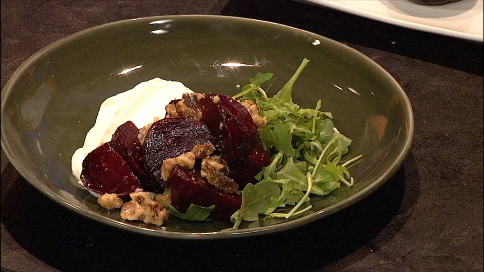 Carolina Kitchen: Roasted beet salad with candied pecans and whipped goat cheese (Photo credit: WLOS Staff)